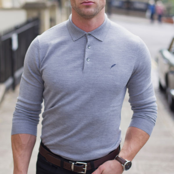 HENLEY Jumper Grey SUBSEQUENT IMAGE 4 - Henley Long Sleeve Polo Grey Melange