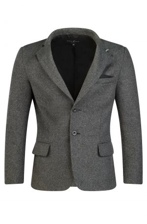 Italian Wool Blend Blazer Grey 300x457 - Eton V Neck Black