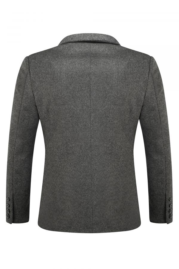 Italian Wool Blend Blazer Grey Back - Ascot Blazer Grey