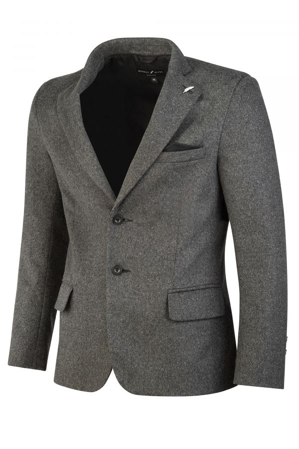Italian Wool Blend Blazer Grey Side - Ascot Blazer Grey