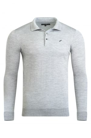 Merino Wool Long Sleeve Polo Grey Melange 300x457 - Shop Benedict Raven