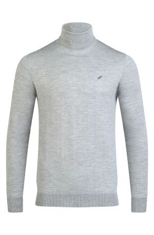 Merino Wool Roll Neck Grey Melange 300x457 - Henley Long Sleeve Polo Oatmeal Melange