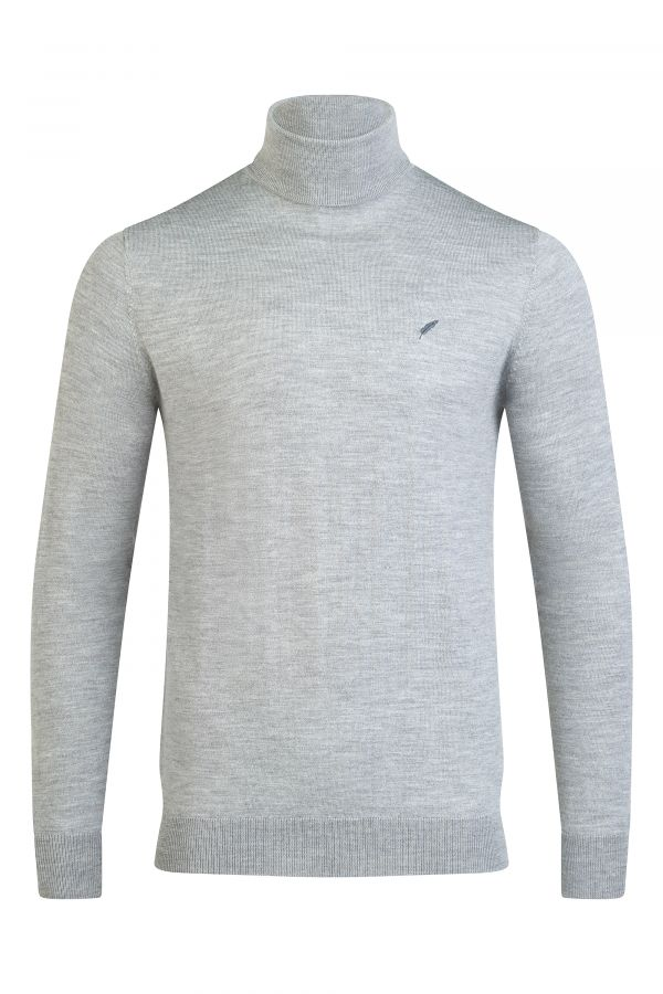 Merino Wool Roll Neck Grey Melange - Soho Roll Neck Grey Melange