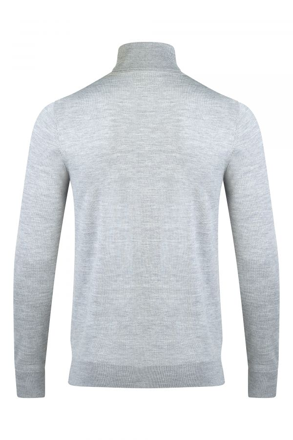 Merino Wool Roll Neck Grey Melange Back - Soho Roll Neck Grey Melange