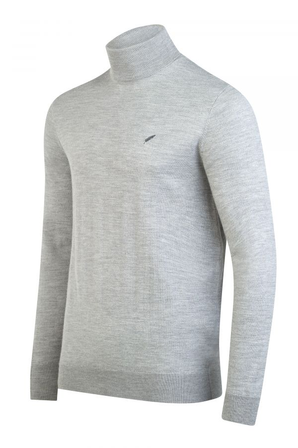 Merino Wool Roll Neck Grey Melange Side - Soho Roll Neck Grey Melange