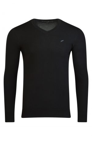 Merino Wool V Neck Black 300x457 - Henley Long Sleeve Polo Oatmeal Melange