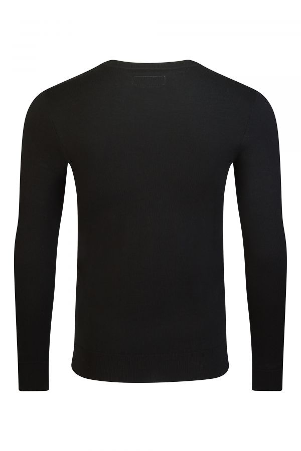 Merino Wool V Neck Black Back - Eton V Neck Black
