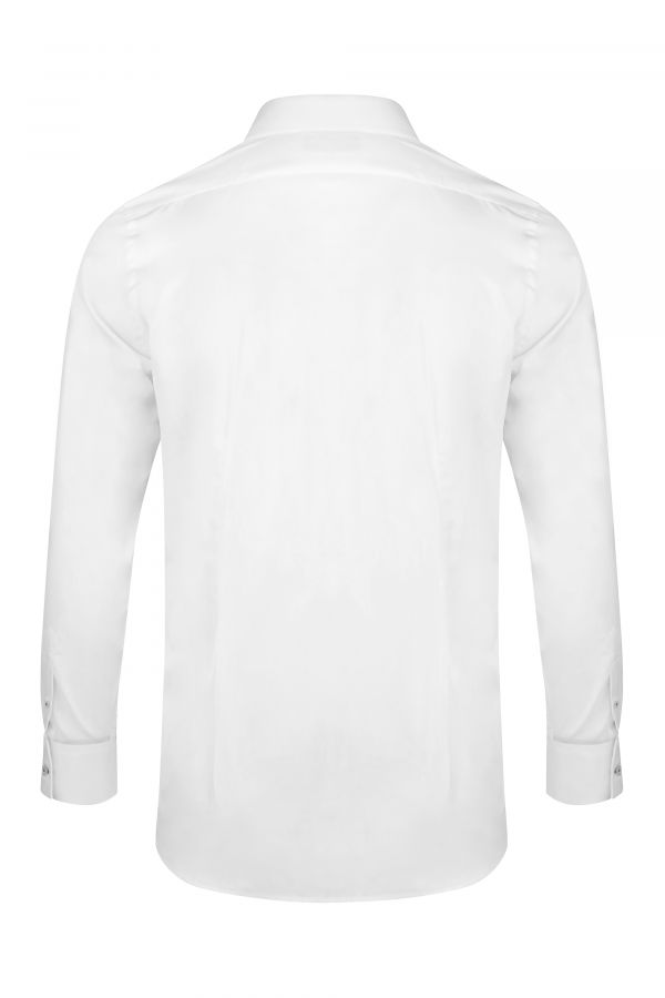 White Classic Slim Fit Shirt Back - Mayfair Shirt White