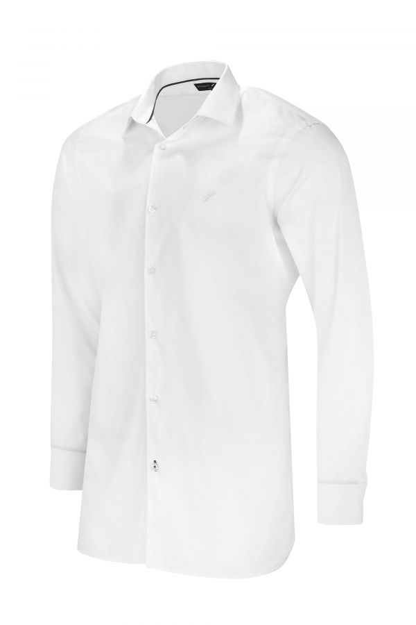 White Classic Slim Fit Shirt Side - Mayfair Shirt White