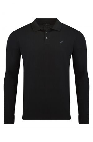 MERINO WOOL LONG SLEEVE POLO BLACK 300x457 - Eton V Neck Black