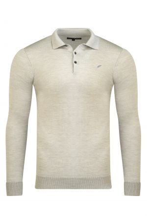 Merino Wool Long Sleeve Polo Oatmeal Melange 300x457 - Shop Benedict Raven