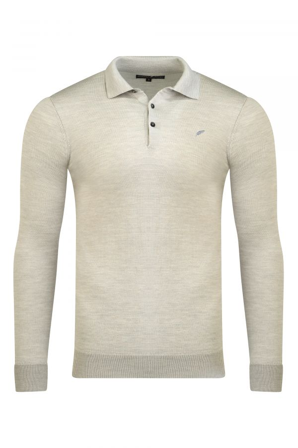 Merino Wool Long Sleeve Polo Oatmeal Melange - Henley Long Sleeve Polo Oatmeal Melange
