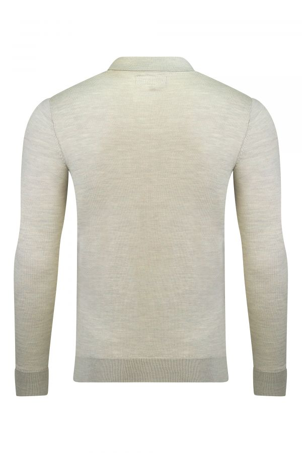 Merino Wool Long Sleeve Polo Oatmeal Melange Back - Henley Long Sleeve Polo Oatmeal Melange