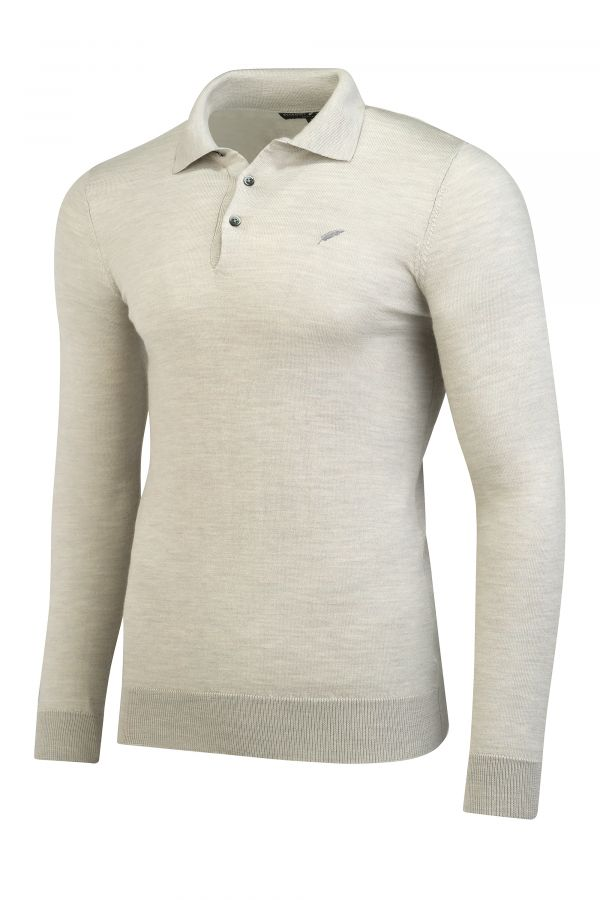 Merino Wool Long Sleeve Polo Oatmeal Melange Side - Henley Long Sleeve Polo Oatmeal Melange