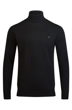 Merino Wool Roll Neck Black 300x457 - Henley Long Sleeve Polo Oatmeal Melange
