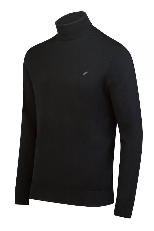 Merino Wool Roll Neck Black Side - Soho Roll Neck Black