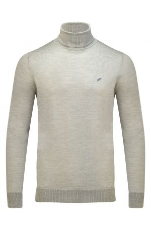 Merino Wool Roll Neck Oatmeal Melange 300x457 - Henley Long Sleeve Polo Oatmeal Melange