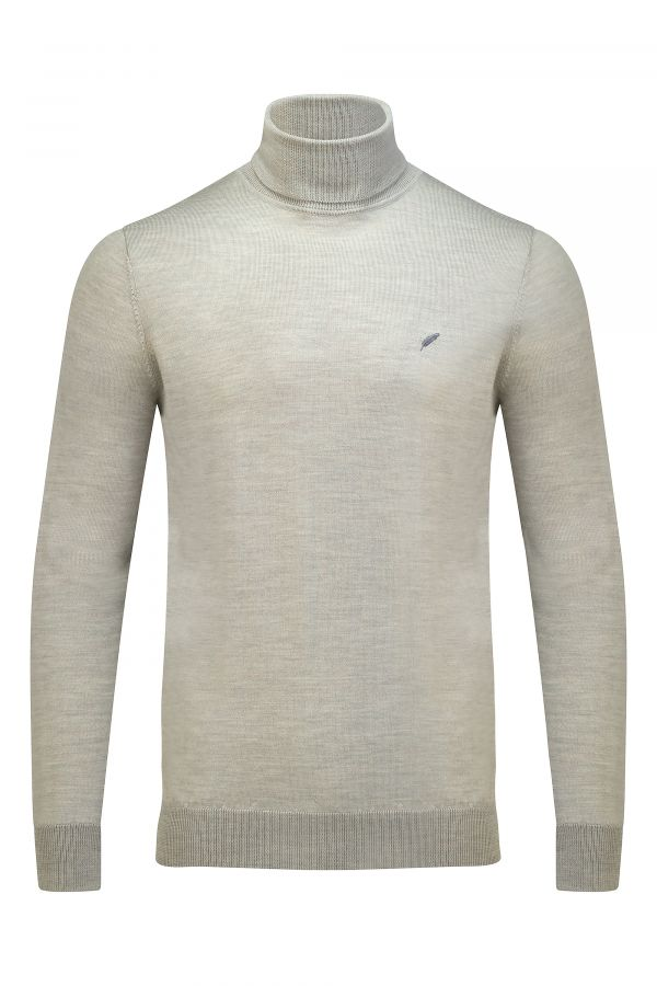 Merino Wool Roll Neck Oatmeal Melange - Soho Roll Neck Oatmeal Melange