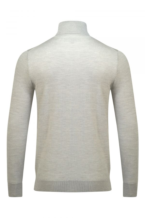 Merino Wool Roll Neck Oatmeal Melange Back - Soho Roll Neck Oatmeal Melange