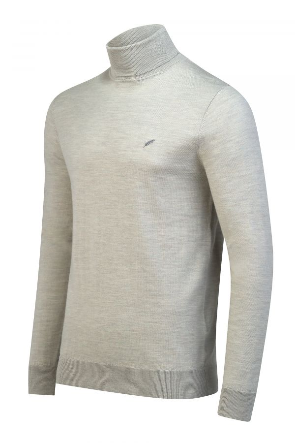 Merino Wool Roll Neck Oatmeal Melange Side - Soho Roll Neck Oatmeal Melange