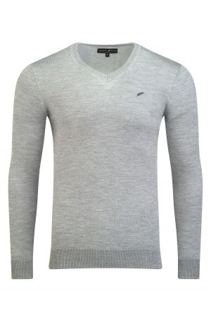 Merino Wool V Neck Grey Melange 300x457 - Henley Long Sleeve Polo Oatmeal Melange