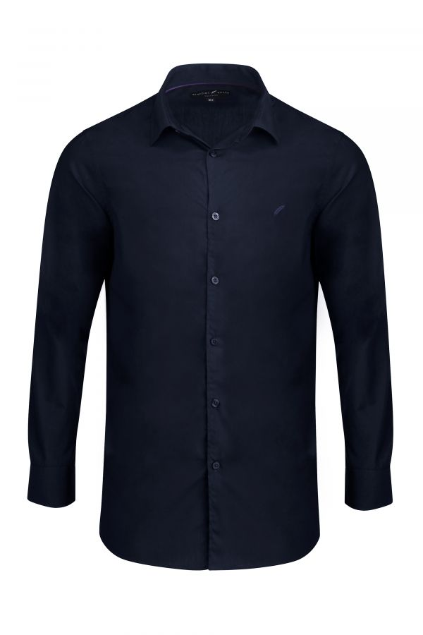 Navy Classic Slim Fit Shirt - Mayfair Shirt Navy