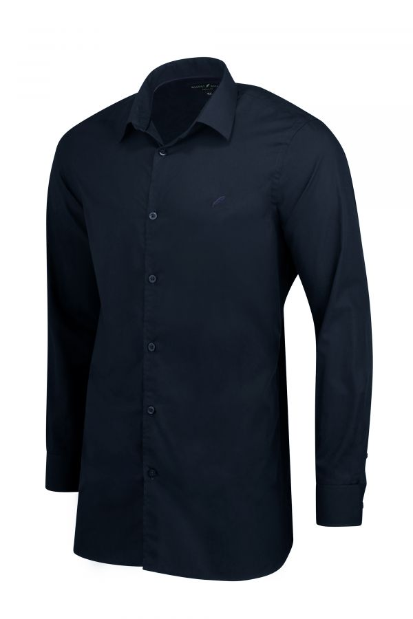 Navy Classic Slim Fit Shirt Side - Mayfair Shirt Navy