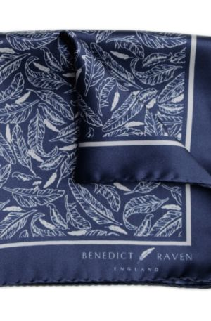 Pocket Sq 3 300x457 - Signature Silk Pocket Square Navy