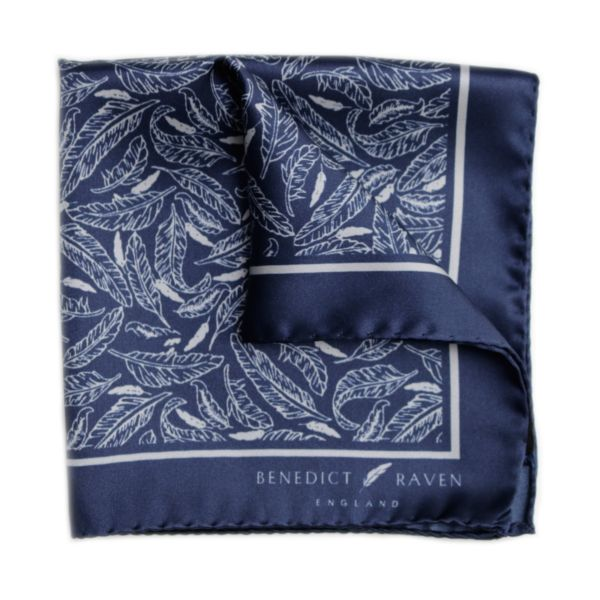 Pocket Sq 3 - Signature Silk Pocket Square Navy