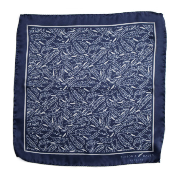 Pocket Sq 4 - Signature Silk Pocket Square Navy