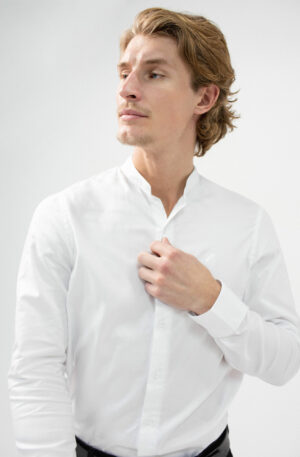 Essentia Shirt White, grandad collar shirt, white shirt, essentia shirt, benedict raven shirt, reiss shirt, hugo boss shirt